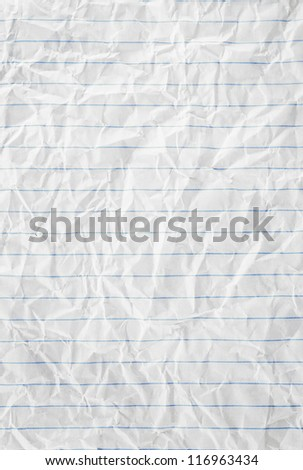 Closeup of crumpled page texture with blue lines. - stock photo