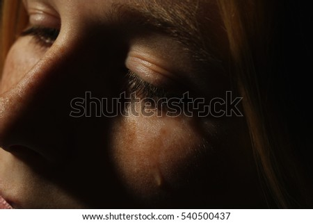 Closeup of crying girl face