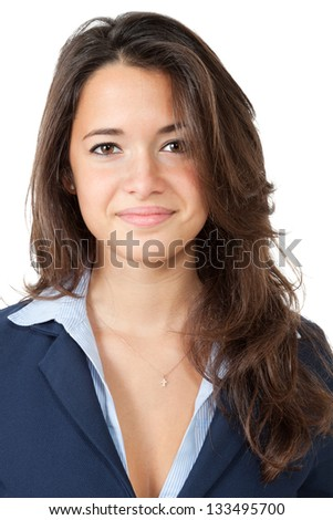closeup of cute girl, isolated on white background