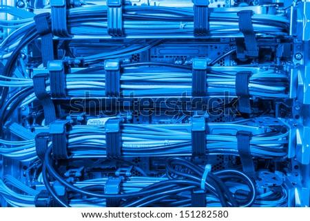 closeup of data center hardware - rear side of storage server - stock photo