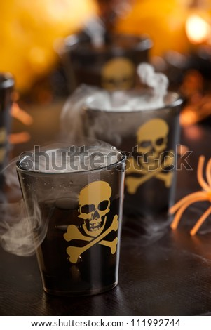 Closeup of Deadly Shot, vodka and hot pepper - Halloween drinks series - stock photo