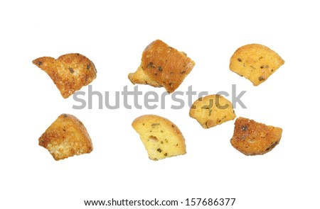 closeup of delicious bread croutons