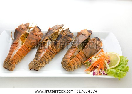 Closeup of delicious grilled lobster - stock photo