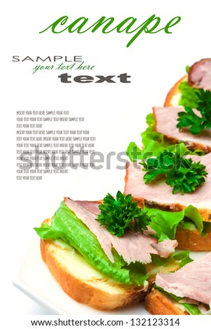 Closeup of delicious ham and salad canapes sandwiches with parsley lying on a white plate (with easy removable text). Vertical composition. - stock photo
