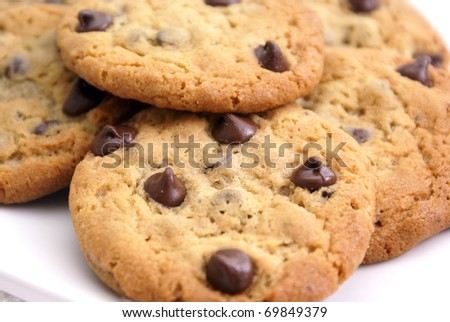 Closeup of delicious homemade chocolate chip cookies. - stock photo