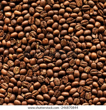 Closeup Of Delicious Roasted Aromatic Arabica Coffee Beans - stock photo