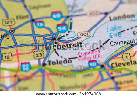 Closeup of Detroit on a geographical map. - stock photo