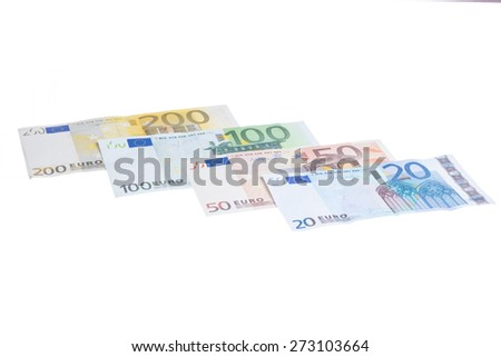Closeup of different value euro banknote collection isolated on white background - stock photo