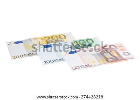 Closeup of different value euro banknote collection isolated on white background