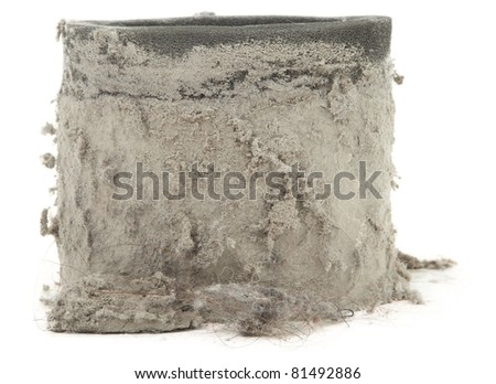 Closeup Of Dirty Vacuum Filter Isolated On White Background - stock photo