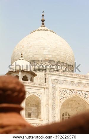 Closeup of dome of beautiful monument Taj Mahal, Agra, India - stock photo