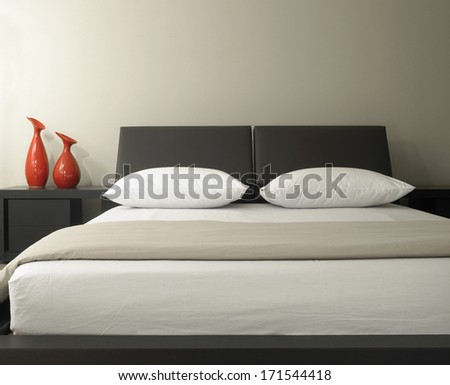 Closeup of double bed  - stock photo