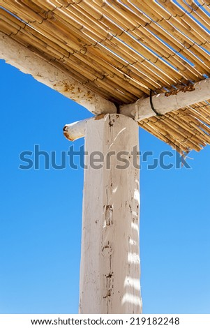 closeup of dried thatch roof on a tropical beach