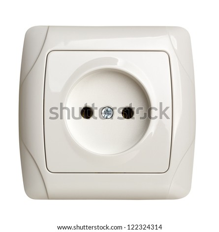 Closeup of electrical outlet isolated on white - stock photo