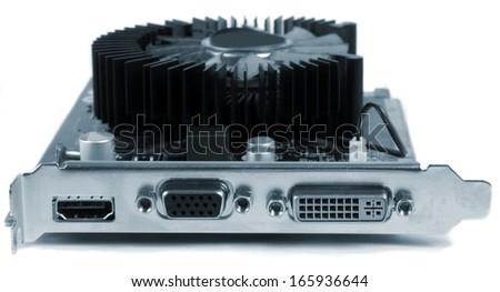 closeup of electronic computer board - stock photo