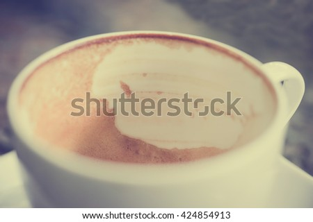 Closeup of empty cappuccino coffee cup