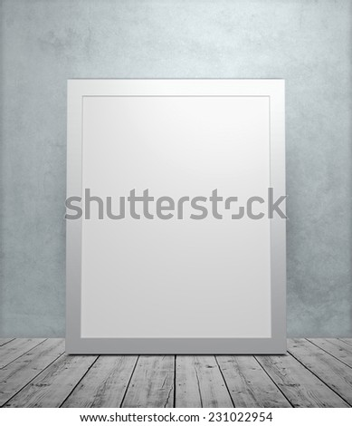 Closeup of empty frame in room with light - stock photo