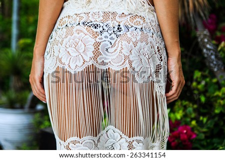 Closeup of erotic dress , view from the back - stock photo