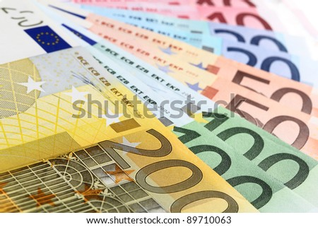 Closeup of euro banknotes, fan made of euro paper currency - stock photo