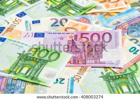 Closeup of euro banknotes. Money background. European currency - stock photo