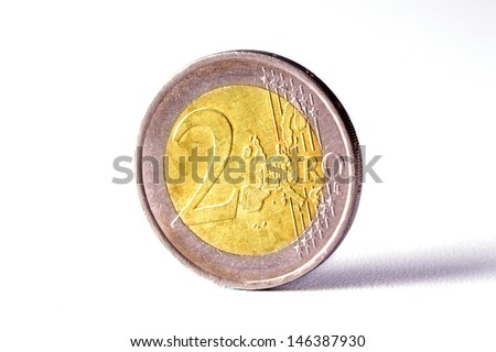 Closeup of Euro coin isolated on white background - stock photo