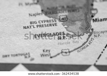 Closeup of Everglades National Park on a geographical map. (black and white) - stock photo