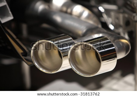 closeup of exhaust pipes