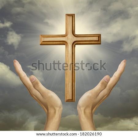 Closeup of faithful hand to the god - stock photo