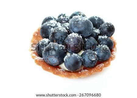 Closeup of fancy gourmet fresh fruit dessert tarts - stock photo