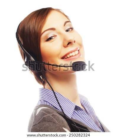Closeup of female customer service representative smiling on white background