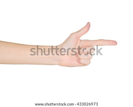 Closeup of female hand pointing. Isolated on white background.