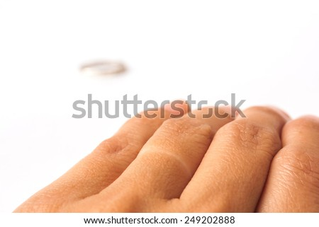 closeup of female hand remove ring after divorce on white background. - stock photo