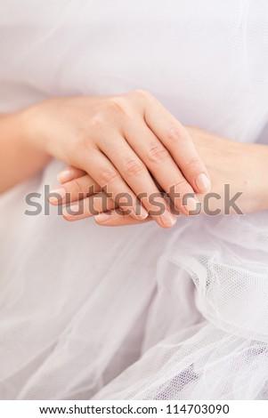 Closeup of female hands - stock photo