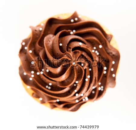 Closeup of Festive Cupcake with Chocolate Frosting Top and Sprinkles on White Background - stock photo