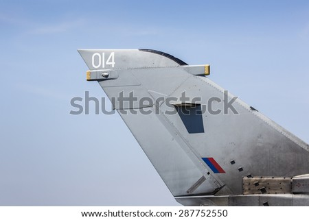 Closeup of fimilitary aircraft. - stock photo