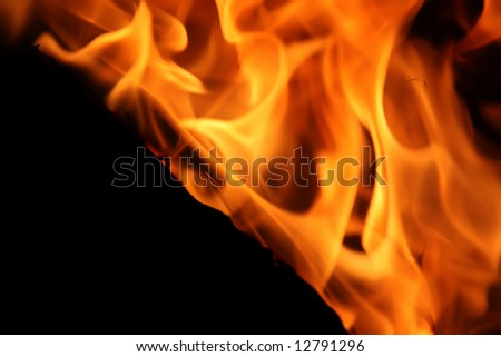 Closeup of Fire on Black Background