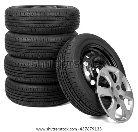 closeup of five tires with wheel cap isolated over white background