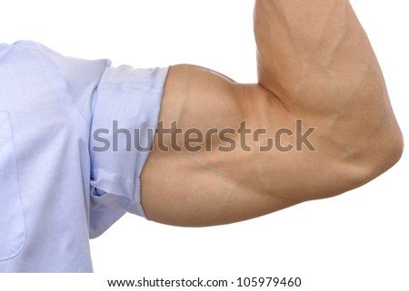 Closeup of flexed arm of muscular man with sleeve rolled up on white background - stock photo