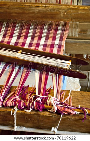 Closeup of floor loom project - stock photo