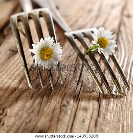 closeup of forks - stock photo