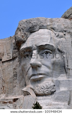 Closeup of former U.S. president Abraham Lincoln, who is featured in the Mount Rushmore Memorial in South Dakota