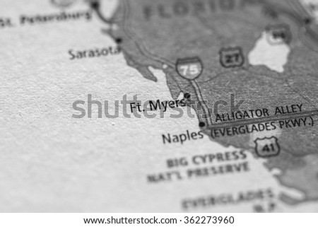 Closeup of Fort Myers on a geographical map. (black and white) - stock photo
