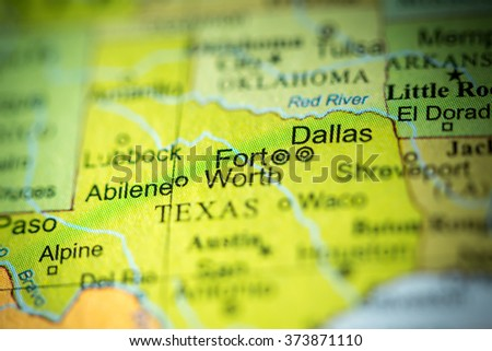 Closeup of Fort Worth, Texas on a political map of USA. - stock photo