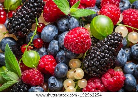 Closeup of fresh berry fruits - stock photo