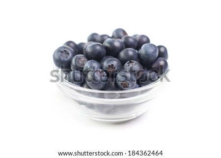 Closeup of fresh blueberries isolated on wite background - stock photo