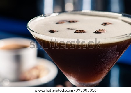 closeup of Fresh coffee cocktail with coffee beans