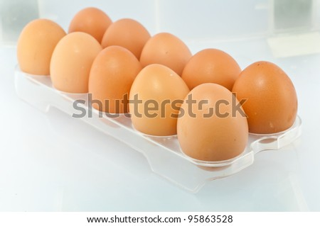 Closeup of Fresh eggs in the package - stock photo