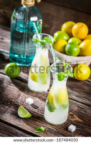Closeup of fresh lemonade with fruit