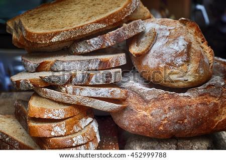 Closeup of fresh, sliced bread. - stock photo