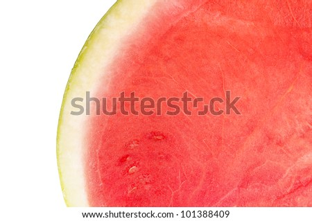 Closeup of Fresh Watermelon on White Background